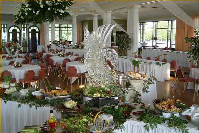 The main buffet table consists of a salad station accompanied