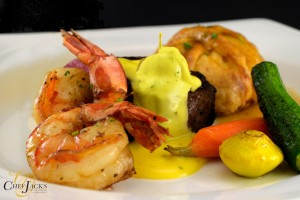 Trio Plate of Beef Center Cut Filet, Jumbo Shrimp, and Chicken En`Croute